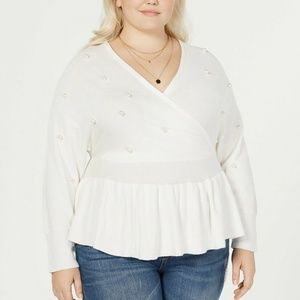 Say What? Trendy Plus Size Faux-Wrap Sweater 1X